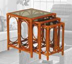glass topped nest of tables